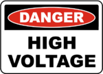 Danger High Voltage Satey Sign 450 x 300 Poly