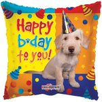 "Happy Birthday Dog With Party Hat 18"" Square pkt 1"